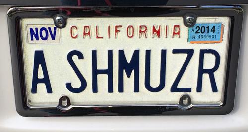 a shmuzr license plate