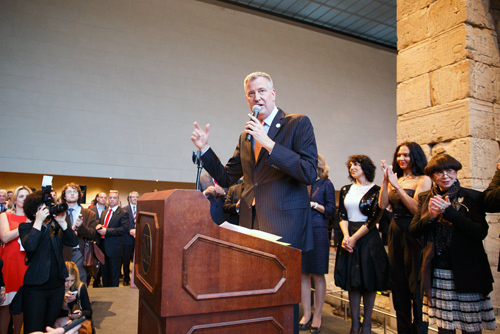New York City Mayor Bill DeBlasio addresses Russian American Foundation event.   (Photo: Yoon Kim)