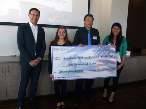 Israel's Consul General David Siegel presents $1,000 check to Tali Yedid, Noah Villalobos and Vanessa Ramirez