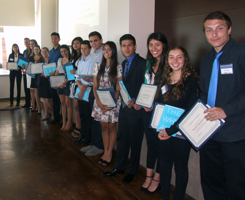 Participants in the Jewish-Latino, High School-MBA collaboration pose after receiving participation certificates