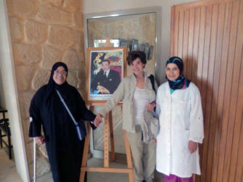 Guide and caretaker pose with Roberta Greene at Casablanca's Jewish Museum