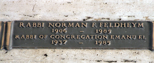 Mausoleum marker for Rabbi Norman R. Feldheym