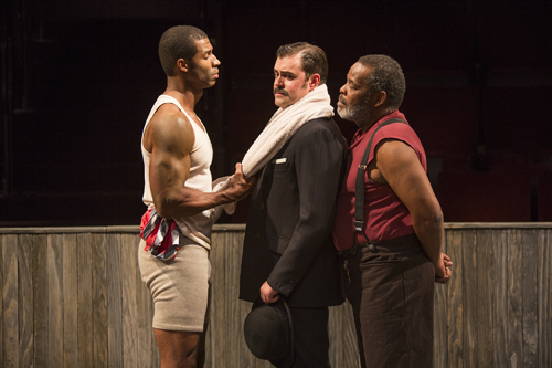 (from left) Robert Christopher Riley as Jay, John Lavelle as Max, and Ray Anthony Thomas as Wynton in Marco Ramirez's The Royale, directed by Rachel Chavkin, Oct. 4 - Nov. 2, 2014 at The Old Globe. {Photo Jim Cox}