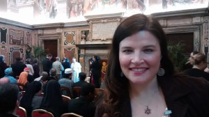 Jenn Lindsay at audience with Pope Francis