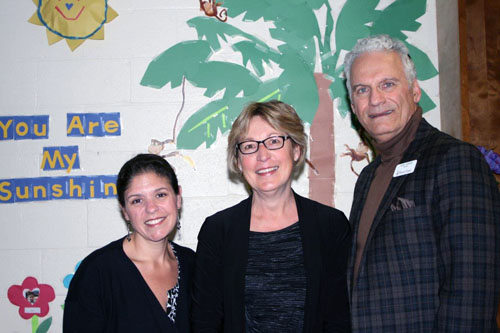 Silverman Preschool Director Amy Stanley (left), Dr. Bonnie Sowa, and Tifereth Israel President Jerry Hermes at the dedication of the new Dr. Kenneth Ginsburg Infant Care Center, an addition that enables the rapidly expanding preschool to accommodate newborns and infants of working parents.