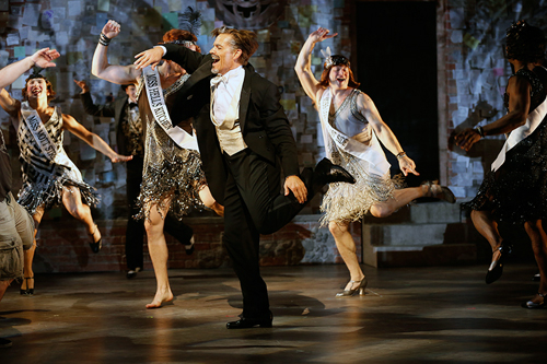 "Jonathan Sharp (foreground) with the cast in Douglas Carter Beane's vignette ""Artists and Models, 1929,"" part of the world premiere musical In Your Arms. In Your Arms, with music by Stephen Flaherty and direction and choreography by Christopher Gattelli, runs Sept. 16 - Oct. 25, 2015 at The Old Globe. Photo by Carol Rosegg."