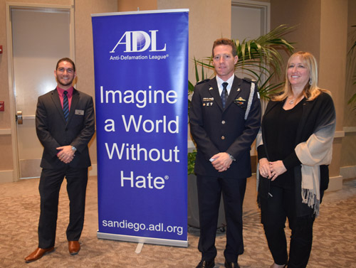 Israel National Police Superintendent Micky Rosenfeld is joined at ADL meeting for law enforcement by Liran Braude, left, deputy director for Jewish security, and regional director Tammy Gillies
