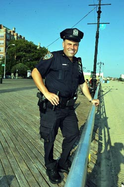 NYPD Officer Albert Mammon patrolling Coney Island boardwalk