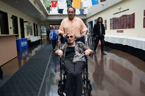 Jack Morgenstern arrives with his mother Gussie Zaks, former president of the New Life Club of Holocaust survivors.