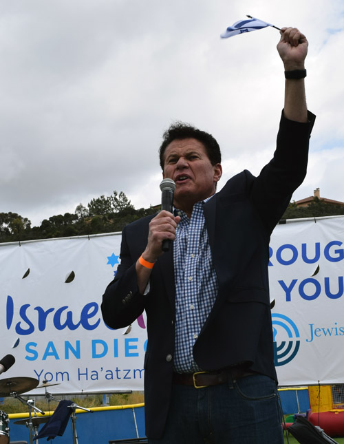 State Senator Marty Block gives a flag-waving speech about legislation in the California Legislature opposing the anti-israel BDS movement