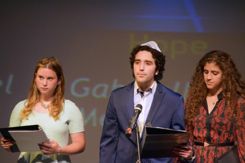 Shayna Meltzer, left, and Ariel and Gabrielle Smotrich read thoughts of current-day Survivors in San Diego County
