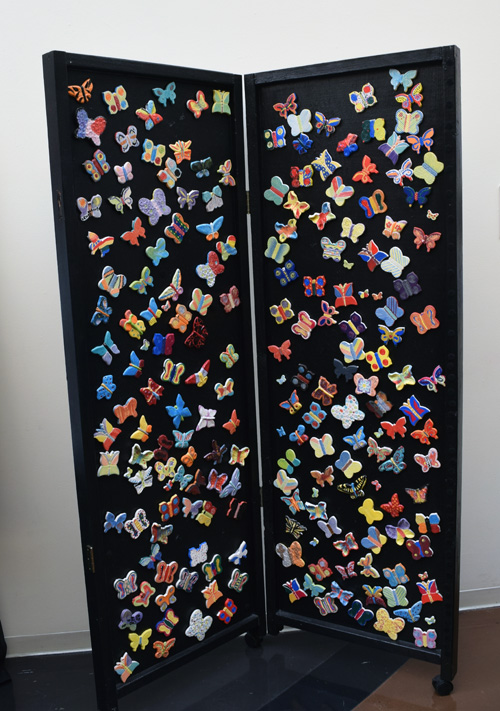 An array of ceramic butterflies, each representing a child murdered in the Holocaust