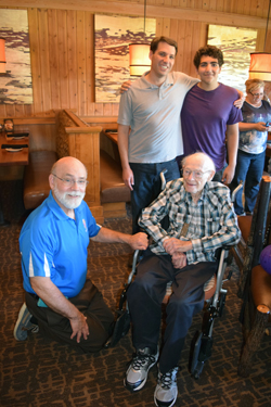Sam Zeiden on his 90th birthday, surrounded by , clockwise from left, Harry Jacobson-Beyer, David Harrison, Shor Masori, Sandi Masori