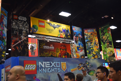 The Lego booth featuring Legos from many different franchises including; Star Wars, Sonic the Hedgehog, Ghostbusters and many more