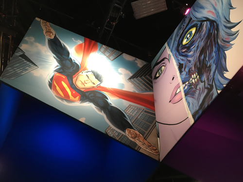 Superman appears to be flying down to the crowds while we see Liv Moore, from iZombie, in her most well known picture.