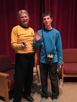 Costumed players (cosplayers) Captain Kirk, left, and Spock, right, attended 'For the Love of Spock.' They declined to reveal their own identities