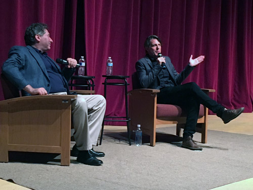 "David Ellenstein, left, artistic director of the North Coast Repertory Theater, moderated Q&A session with Adam Nimoy following the showing of ""For the Love of Spock"""