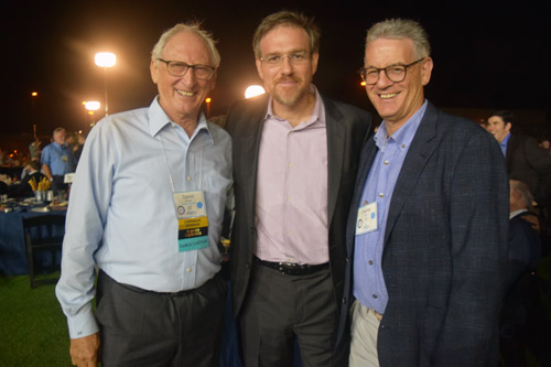 David Ellman, a leader in the San Diego Jewish community, Pulitzer Prize winning columnist Bret Stephens, and Waxie Sanitary Supply owner Charles Wax visited prior to Stephens' speech.  Stephens was a guest at the Rancho Santa Fe home of Charles and Randi Wax.