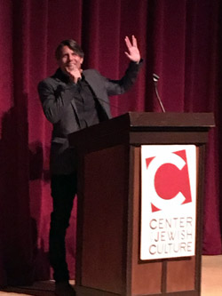 Adam Nimoy gives the Vulcan salute his father Leonard made famous in 'Star Trek.' His appearance came in a preview of the San Diego Jewish Film Festival sponsored by the San Diego Center for Jewish Culture