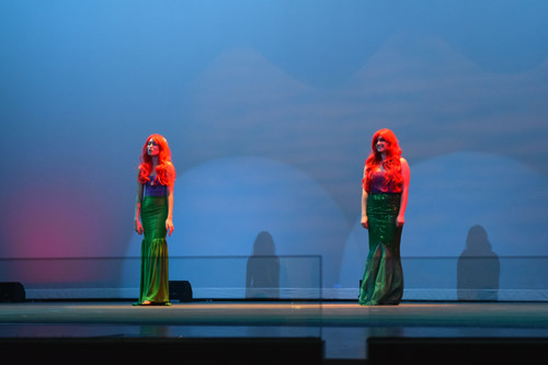 Scenes from Hamilton (top) and the Little Mermaid were enacted by members of the PHHS drama program (Photos: Shor Masori)