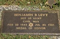 Gravestone of Benjamin Levy, Medal of Honor Winner